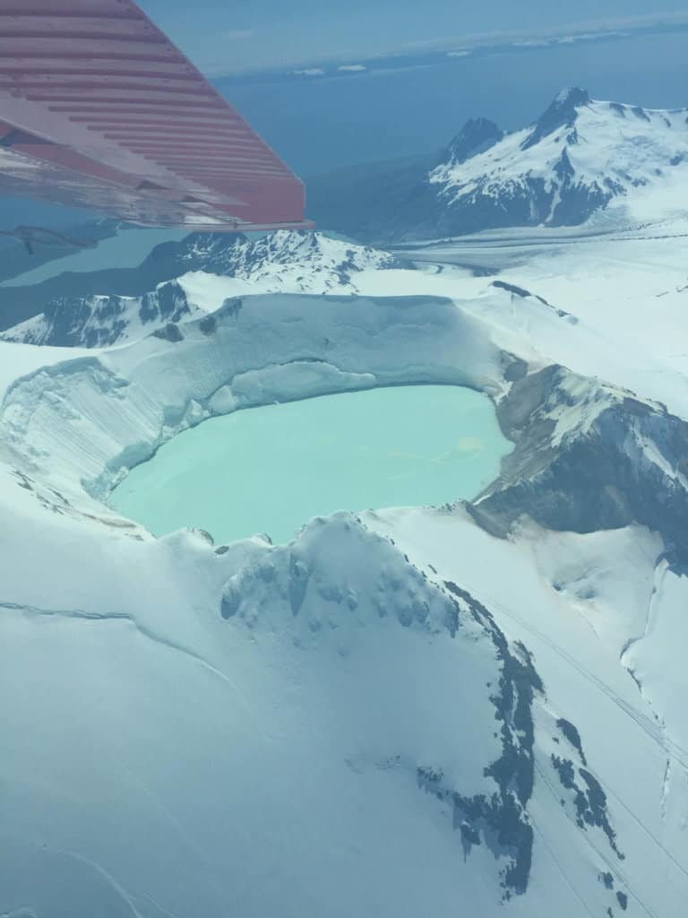 view of glacial pool from the air