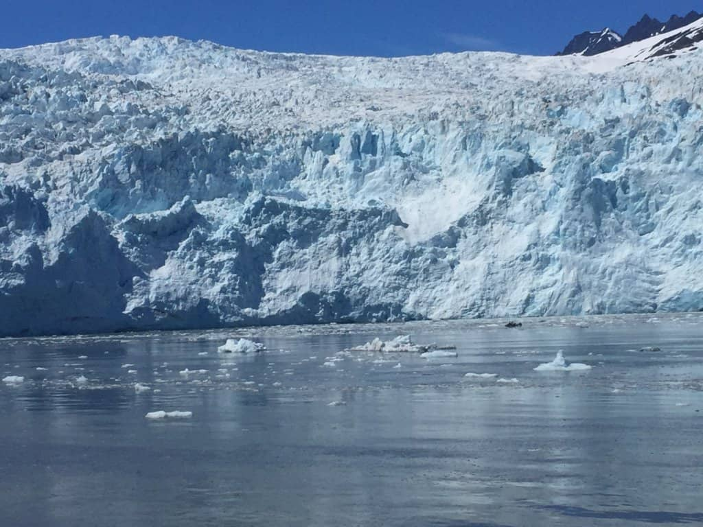 Glacier with water in the foreground