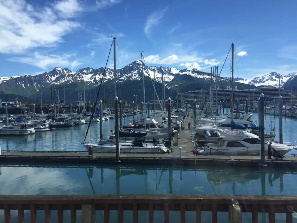 many boats at a dock with snow capped mountains in the background