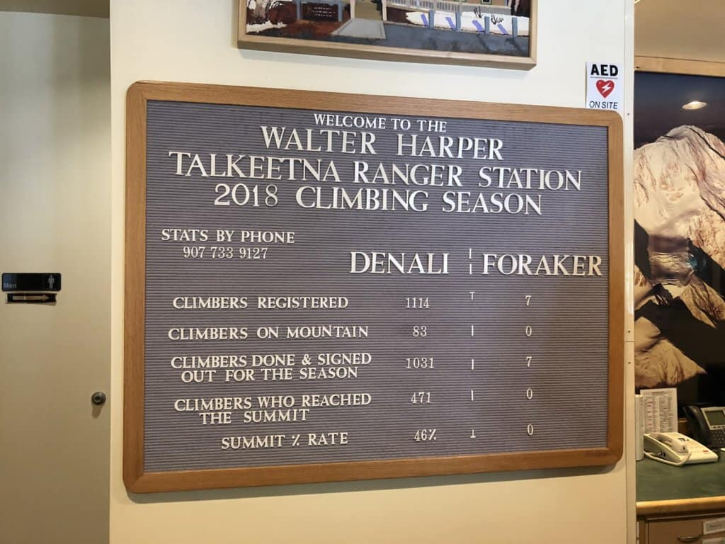 Sign at Ranger Station with details of hikers on Denali and Foraker