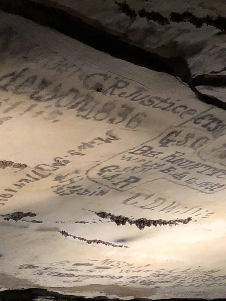 candle writings on ceiling at Mammoth Cave