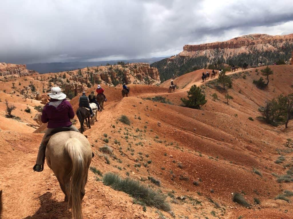 Horseback riding along the rim at Bryce Canyon