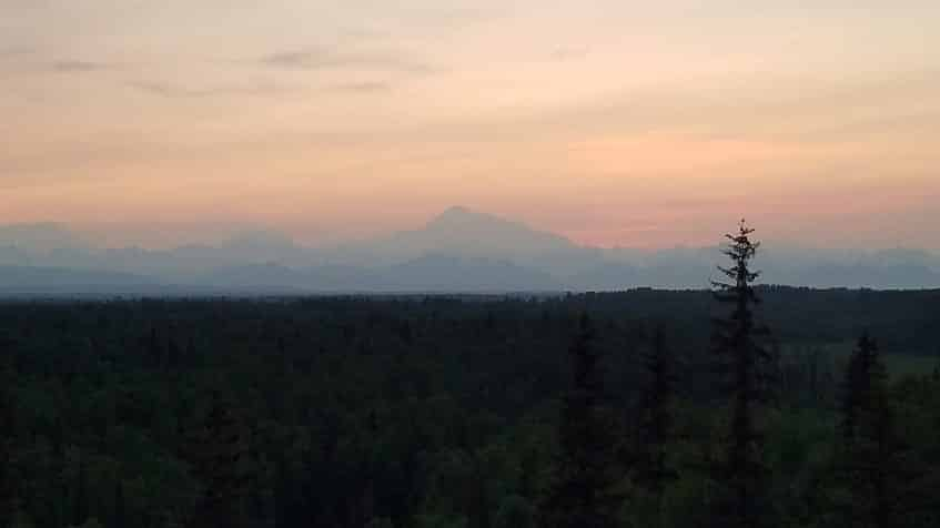 View of Denali at midnight