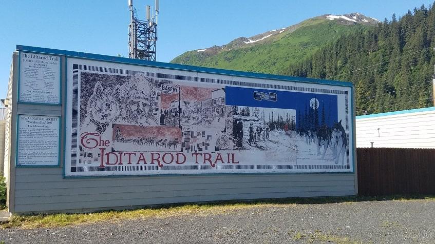 Seward mural of the Iditarod Trail