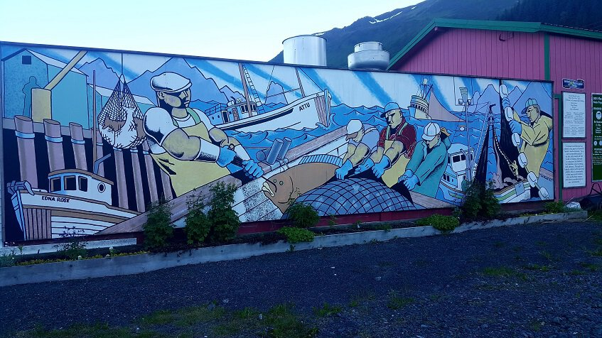 Seward mural of the fishing industry