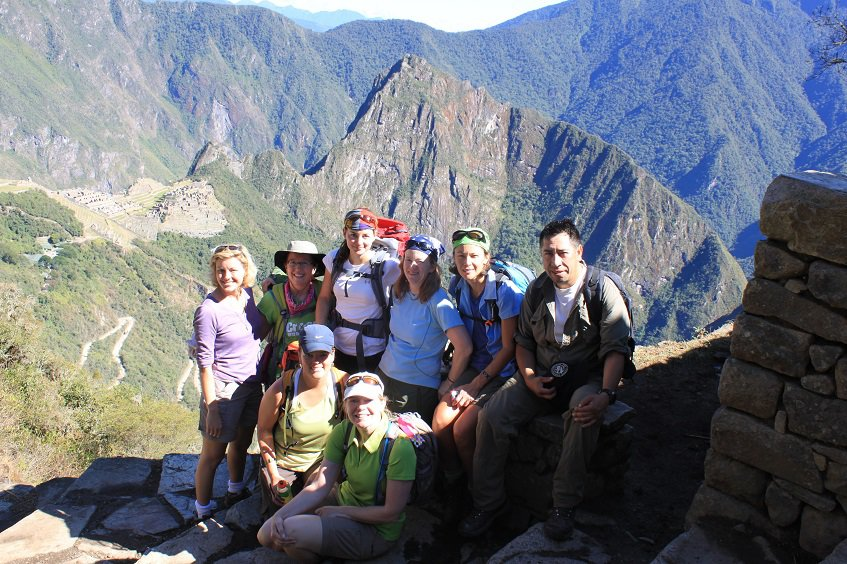 Group picture at Sun Gate on top of Machu Picchu