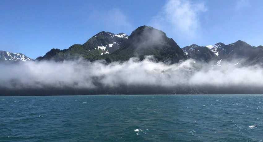 View of mountains from boat